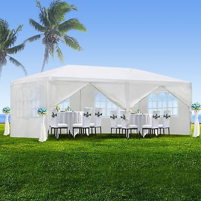 10'x20' White Outdoor Gazebo Canopy Wedding Party Tent 6 Removable Window -