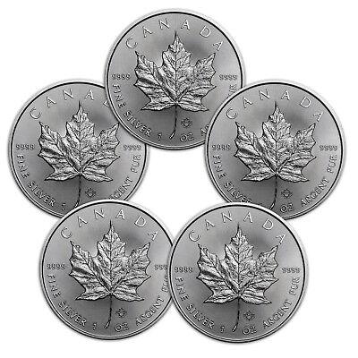 5 x 1 oz Silber Maple Leaf 2018 - 5 Dollar Kanada Stempelglanz Silbermünze 999,9