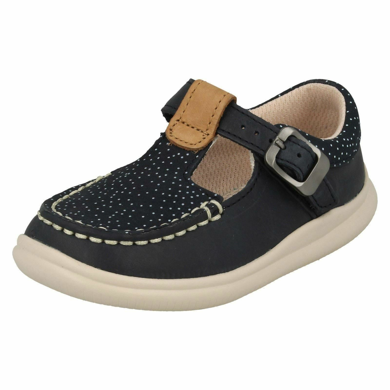 Girls Clarks Cloud Rosa Navy Leather First Walking Shoes