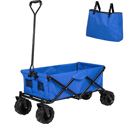 Chariot de Transport Jardin Plage Charrette à main Remorque Pliable Pliante Bleu