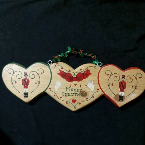 Vintage Brown Wood Crafted Hanging Christmas Plaque 1995 Mexico Preowned