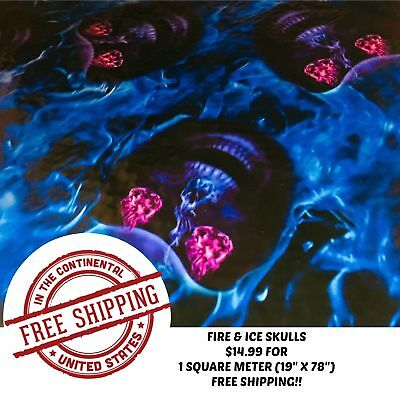 Hydrographic Water Transfer Hydrodipping Film Hydro Dip Fire Ice Skulls 1sq
