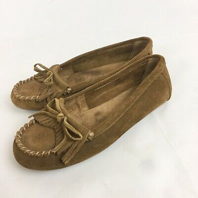 Minnetonka Moccasin Loafer Style Brown Suede Leather Nobby Sole Size 8 Brown Suede Leather Loafer