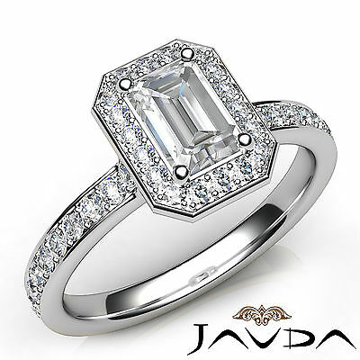 Emerald Cut Halo Pave Set Diamond Engagement Ring GIA G VS1 Platinum 950 0.95Ct