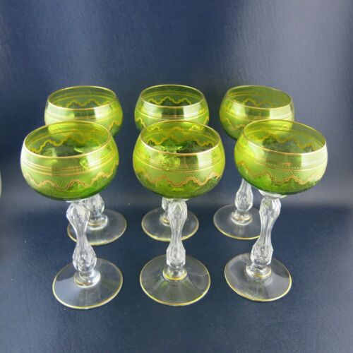 Set 6 Antique Rare St. Louis Crystal Chartreuse Beethoven Wine Hock Glasses