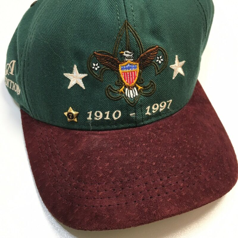 Boy Scouts BSA Limited Edition Hat 1997 Suede Leather Bill 7 Year Star Tack Pin