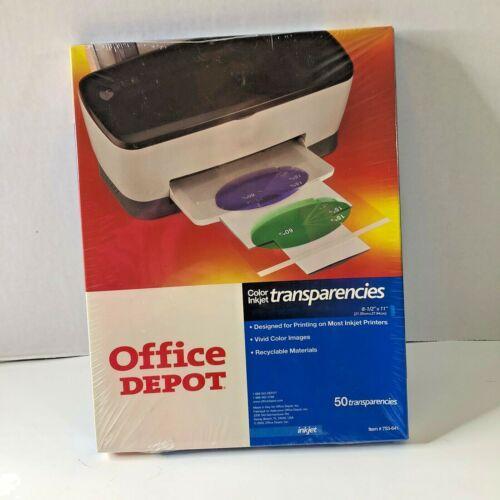"NEW Office Depot Color Inkjet Printer Transparencies 50 Sheets 8.5"" x 11"""