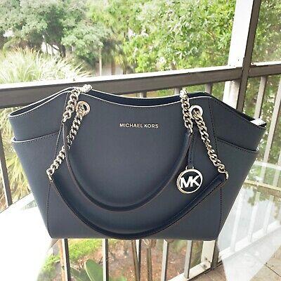 Michael Kors Women Leather Shoulder Chain Tote Handbag Bag Purse Messenger Navy