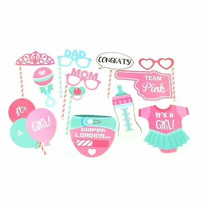12 Baby Shower Photo Booth Props Girl Birth Party Decorations Accessories - Baby Showe Games
