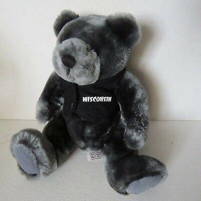 Wisconsin Black Plush TEDDY BEAR~ Velvete By Greek~ Vest~SOFT -