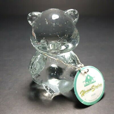 "VTG Hermitage Pottery Glass Birthday Bear Figurine 1998 Home Styles 3 1/4"" Tall"
