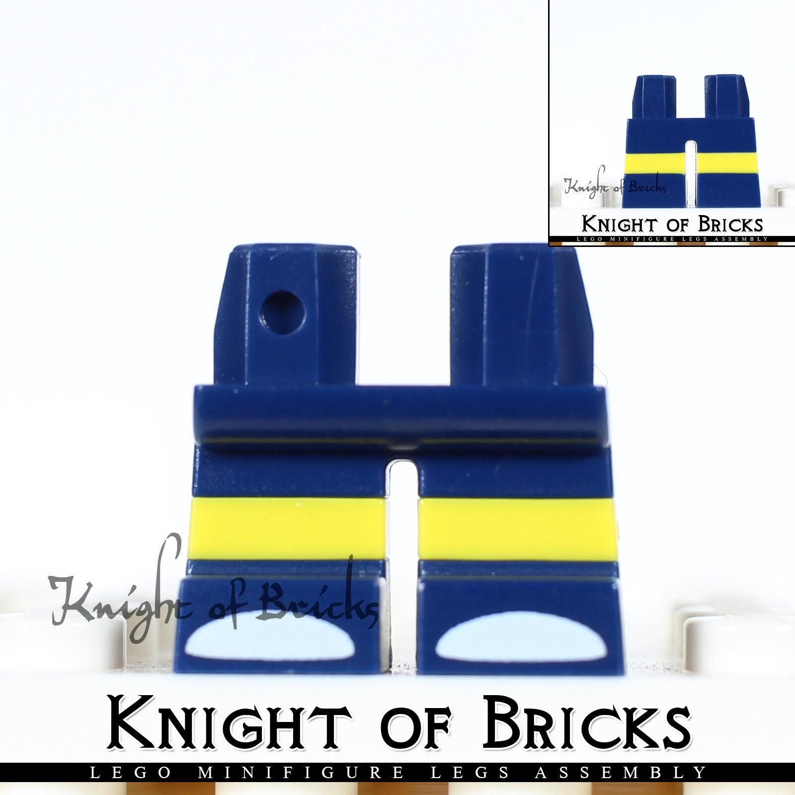 NEW RED Horizontal Yellow Stripes Short Mini Figure Legs 4 Per Order LEGO
