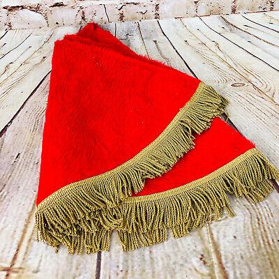 Vintage Christmas Tree skirt Red /w Gold Fringe 3 ft Wide