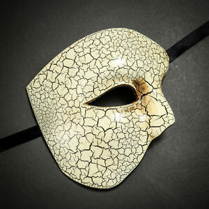 Men Half Face Phantom of the Opera Venetian Masquerade Ball Mask with Cracks
