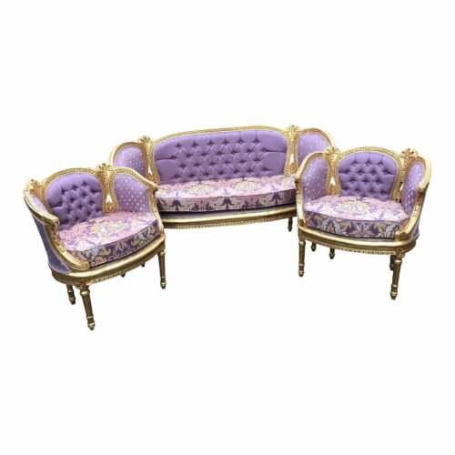 Vintage French Louis XVI Corbeille Living Room Set 1900