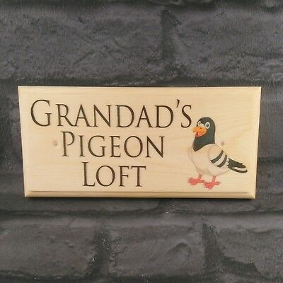 Grandads Pigeon Loft Sign, Aviary Bird Shed Fathers Day Dad Door Plaque Home 527
