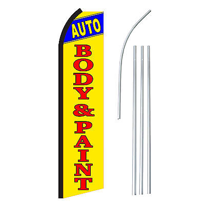 Auto Body Paint Advertising Sign Swooper Feather Banner Flag Pole Only