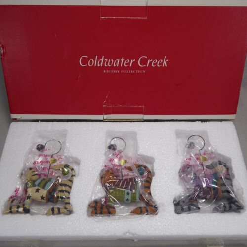 Coldwater Creek 3pc Dapper Cat Christmas Holiday Ornaments Kitty Jingle Bell