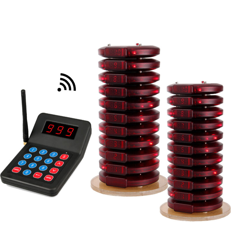 T119 Restaurant Wireless Paging Queuing System Transmitter+20 Coaster Pagers US