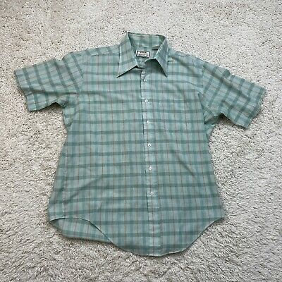 1970s Men's Shirt Styles – Vintage 70s Shirts for Guys TG&Y Supreme Shirt Mens Medium Green Vintage 1970's Button Down Short Sleeve $24.88 AT vintagedancer.com