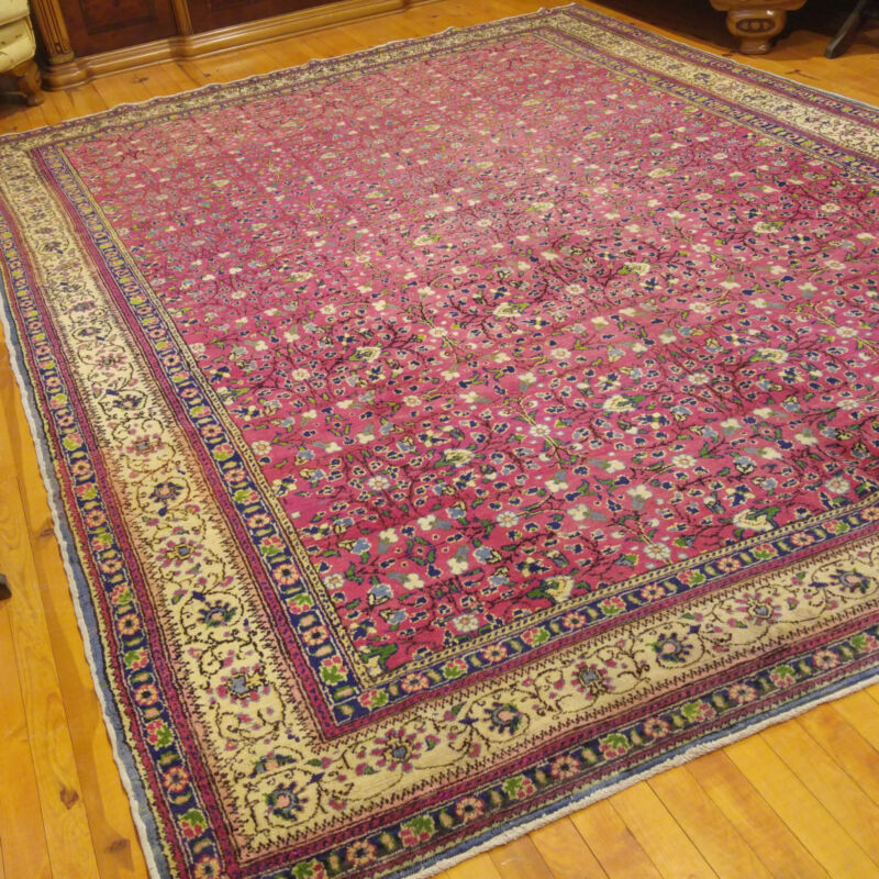 Stunning Pomegranate Red Cr1920-1939s Antique 8x11ft Wool Pile Hereke Rug