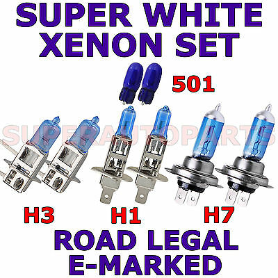SEAT LEON HATCH 2013+ SET H3 H1 H7 501 HALOGEN XENON LIGHT BULBS