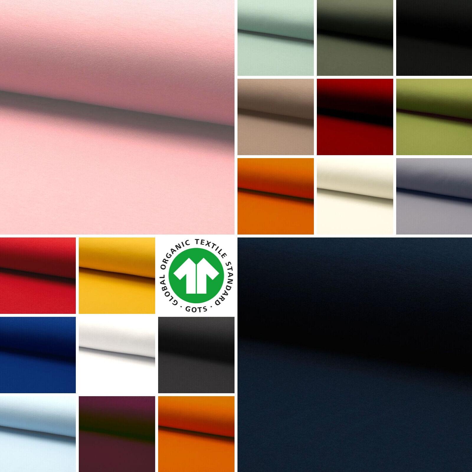 Sweatstoff uni viele Farben METERWARE GOTS Bio Soft angeraut 1,5m breit