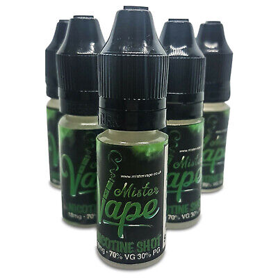 Nicotine Shots 18MG 10ML 70VG/30PG BY Mister Vape Unflavoured Nicotine Shot UK