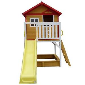 Elevated Wooden Cubby House Play House with Sandpit and Slide Mandurah Mandurah Area Preview