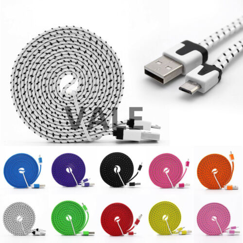 3/6/10ft Braided Flat Micro USB A to USB B Data Charger Cabl