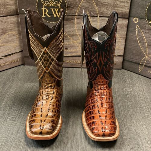 MENS, RODEO, COWBOY, ALLIGATOR, TAIL, PRINT, WESTERN, SQUARE, TOE, BOOTS, DARK, COGNAC