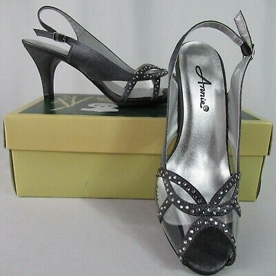 Annie New Slingback Gray Clear Dress Heels 8 Wide Vegan (Clear Slingback)