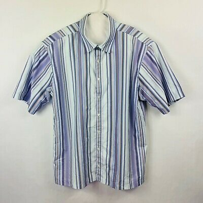 Tiger Woods Button Front Short Sleeved Shirt Men's Size Large Striped