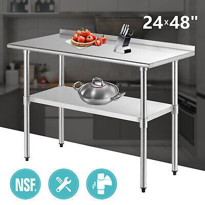 24 X 48 Work Prep Table W Backsplash Kitchen Restaurant Stainless Steel