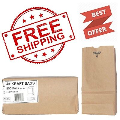Duro Bag #4 Brown Kraft 500 ct. Paper Grocery Bags Sack Lunch Merchandise