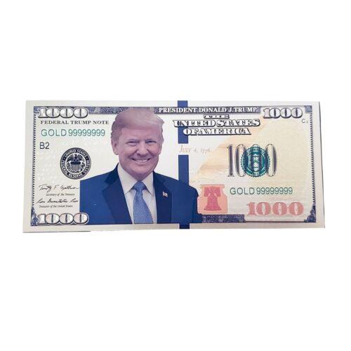 Gold Foil Donald Trump Smiling Face $1000 Dollar Bill MAGA Funny Money in Holder