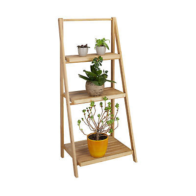 Relaxdays Blumentreppe aus Bambus mit 3 Etagen klappbar Blumenregal natur Holz