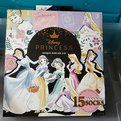 Disney Princess 15 Days of Socks Advent Calendar 2019 Womens sz 4-10