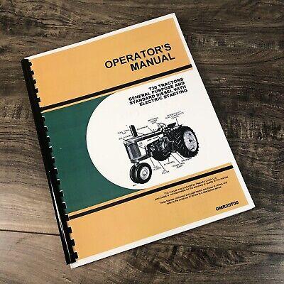 Operators Manual For John Deere 730 Tractor Owners Book Diesel Electric Start