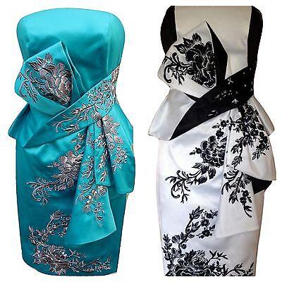29fb124a5 New KAREN MILLEN Oriental Embroidered Satin Pencil Dress Wedding Guest  Party Sz