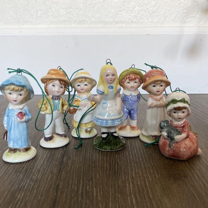 A COMPANY OF FRIENDS 1979 Rare 7 Christmas Ornament Set W/ Alice In Wonderland!!