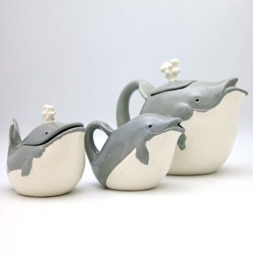 Unique Tea Pot Set Gray Porcelain Whale Family Creamer Sugar Bowl