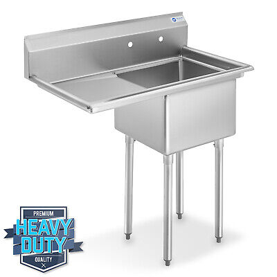 "NSF Stainless Steel 18"" Single Bowl Commercial Kitchen Sink w/ Left Drainboard"