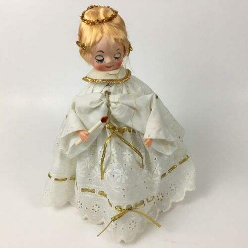 Vintage Jestla Christmas Angel on Wooden Stand Eyelet Lace Gold Trim Halo