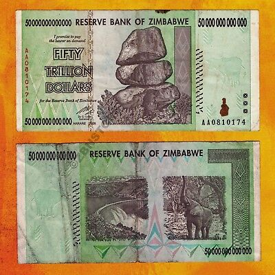 50 Trillion Dollars Zimbabwe Banknote AA 2008 Authentic P90 Circulated Currency