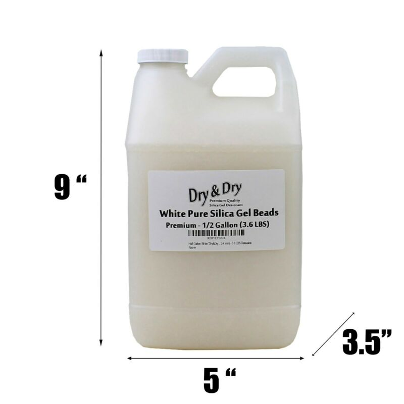"""1/2 Gallon(3.6 LBS) """"Dry & Dry"""" High Quality White Silica Gel Desiccant Beads"""