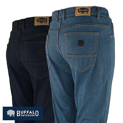 Mens Work Jeans - Buffalo Outdoors™ Mens Straight Leg Comfort Jeans Basic Work Denim Pants 2018