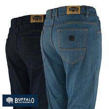 Buffalo Outdoors™ Mens Straight Leg Comfort Jeans Basic Work Denim Pants 2018
