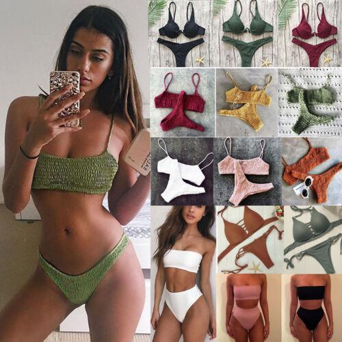 donna costume fascia reggiseno perizoma Set Bikini push-up spiaggia da bagno