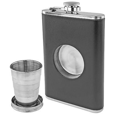 Stainless Steel 8oz Hip Flask Built-In Collapsible Shot Glass Liquor Whiskey Bar Tools & Accessories